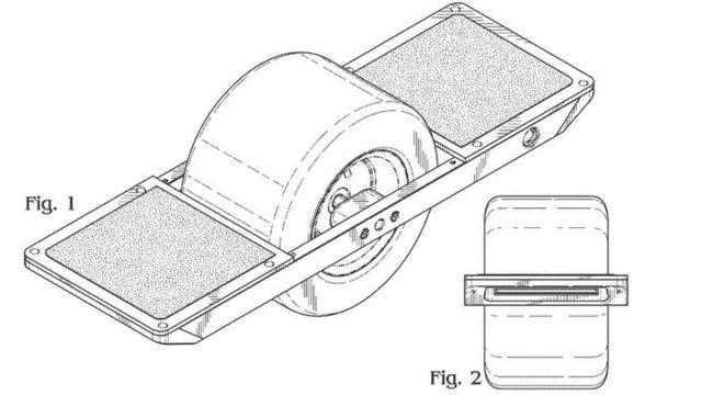 特許を取得したフューチャー・モーション社「ワンウィール」のデザイン図(米特許商標庁)