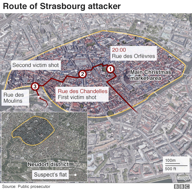 Map showing route attacker took through city centre