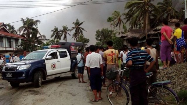 Villages have been burned in Rakhine, reports say, amid violence following Friday's attacks