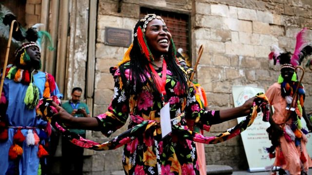 Dancers from Sudan and Eritrea performing a African-Chinese cultural festival, Cairo, Egypt - Monday 25 July 2016