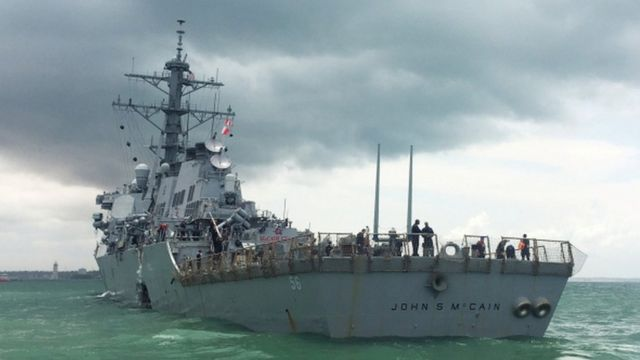 USS John S McCain after the collision