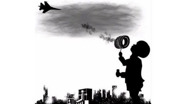 Un dibujo de un niño sosteniendo una rueda en llamas de la que sale una humareda que suba hasta un avión.