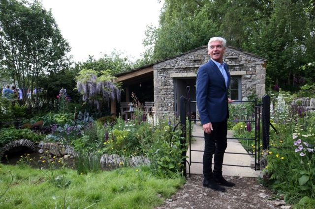 Phillip Schofield visits the Welcome to Yorkshire garden on Main Avenue, during the press day for this year's RHS Chelsea Flower Show