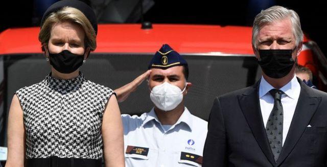 Queen Mathilde of Belgium and King Philippe in Verviers, 20 Jul 21
