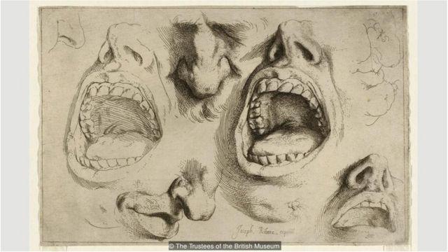 Ribera melukis langsung dari model hidup, menciptakan banyak sketsa anatomi seperti Studies of Nose and Mouth, sekitar 1622.
