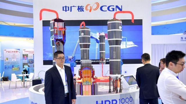 中廣核在廣東深圳高交會展示中國自主三代核電技術「華龍一號」模型(中新社圖片16/11/2017)