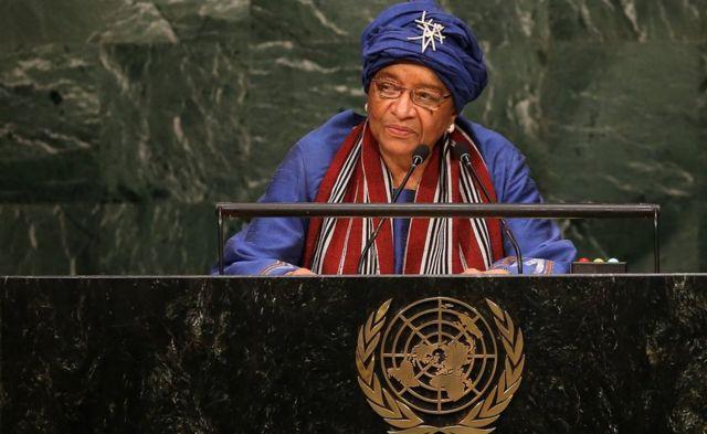 Ellen Johnson Sirleaf hablando en la Asamblea General de Naciones Unidas