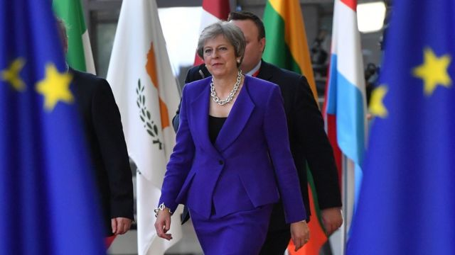 Theresa May attends the European Council for talks on Brexit on 18 October 2018