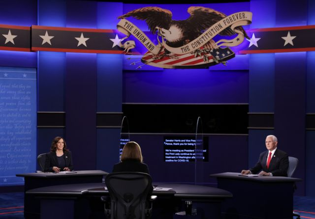 Kamala Harris and Mike Pence debate together