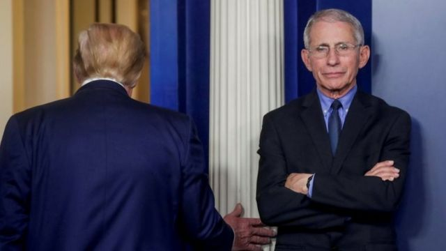 Anthony Fauci y Donald Trump