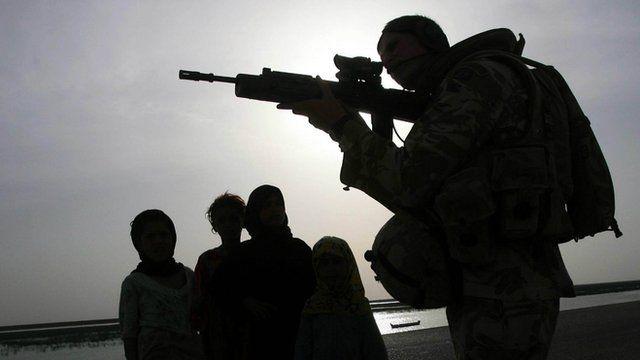 British soldier on patrol in Iraq