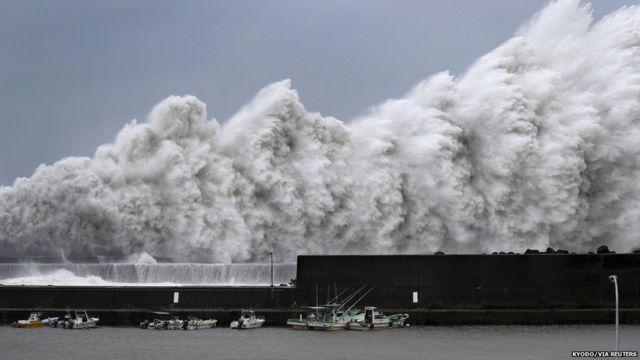 Huge waves crash into coastline