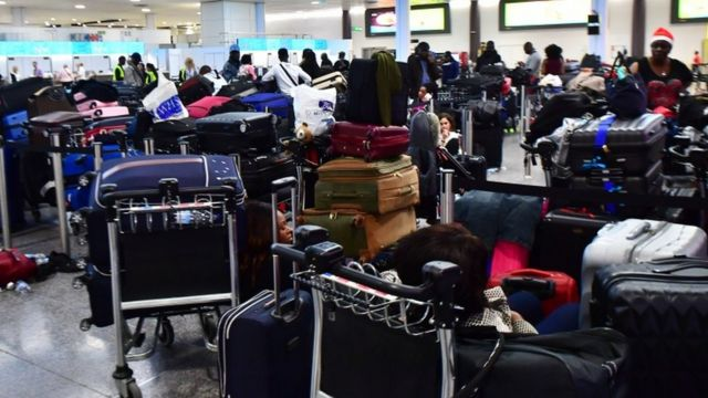 Suitcases at Gatwick