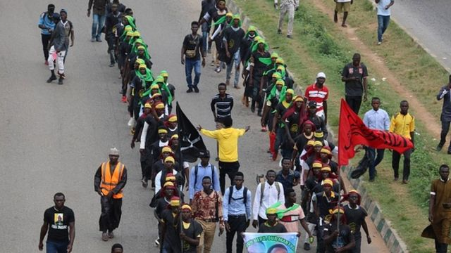 Members of Islamic Movement of Nigeria take part in a demonstration to protest against an imprisoned Shiite cleric, in Abuja