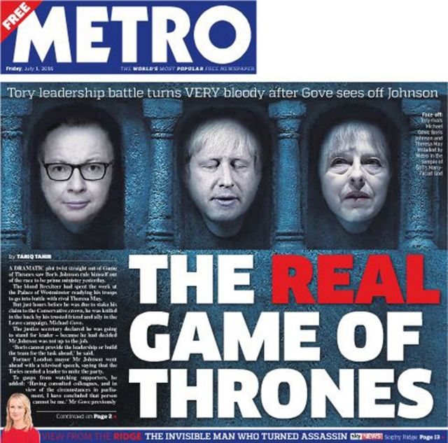 Capa do jornal 'Metro', 01/07/2016