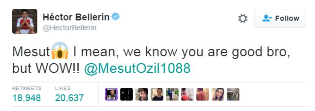 Arsenal defender Hector Bellerin was among those congratulating Mesut Ozil on Twitter