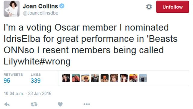 Joan Collins tweet