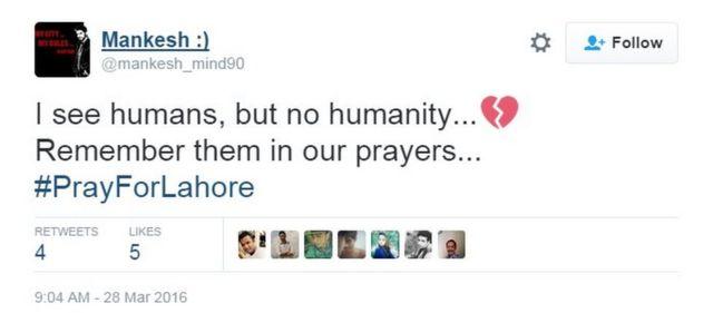 マンケシュさんは「人間はいるが人間性は見えない……。皆さんのために祈りましょう」とツイート