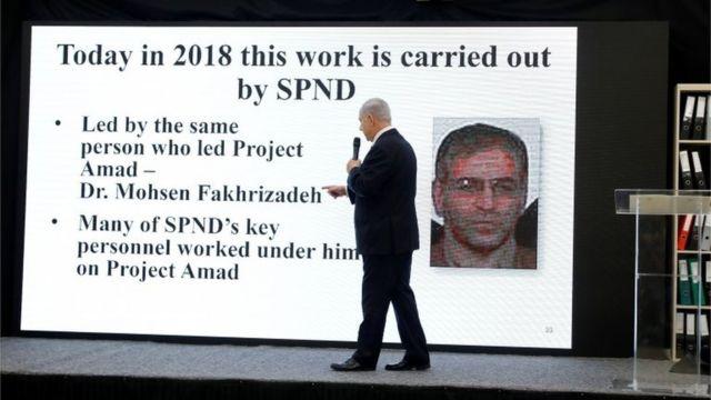 O premiê israelente Benjamin Netanyahu em apresentação sobre o program nuclear iraniano