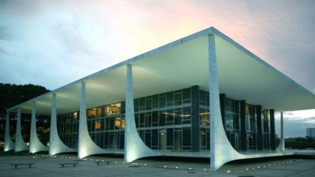 O prédio do STF durante o entardecer