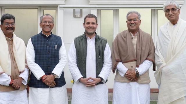 छत्तीसगढ़ के कांग्रेस नेताओं के साथ राहुल गांधी