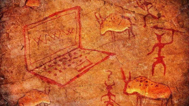 Dibujos de cavernícolas con computadora