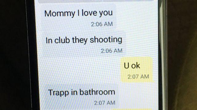 Mina presenta el intercambio de mensajes con su hijo durante el tiroteo en el que murieron 50 personas en Orlando, Florida 12 de junio 2016.