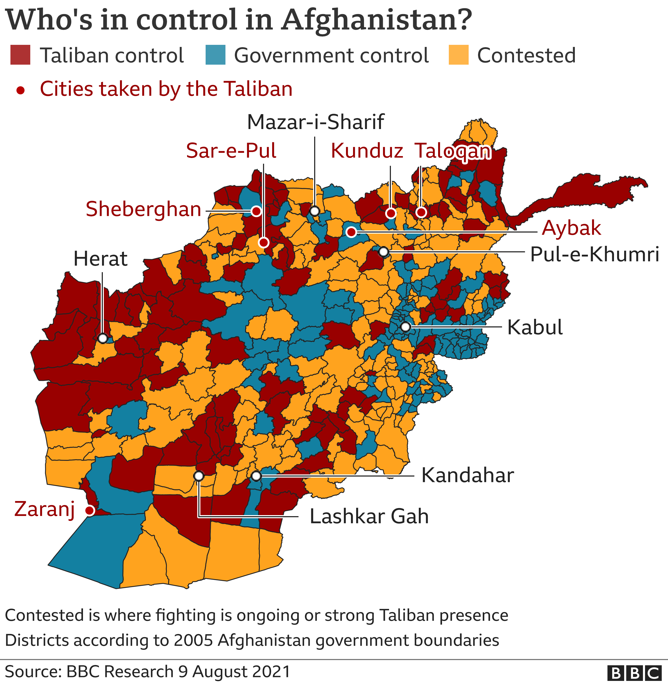 Map showing who is in control across Afghanistan