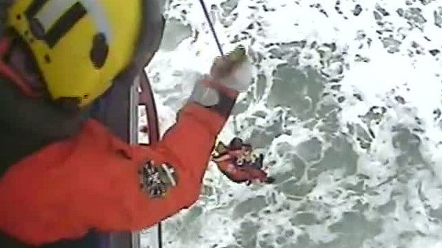 The Maritime & Coastguard Agency rescued two swimmers by helicopter