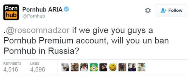 Pornhub Tweet: .@roscomnadzor if we give you guys a Pornhub Premium account, will you un ban Pornhub in Russia?