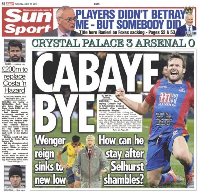 Masaibu ya Arsenal kwenye gazeti la The Sun