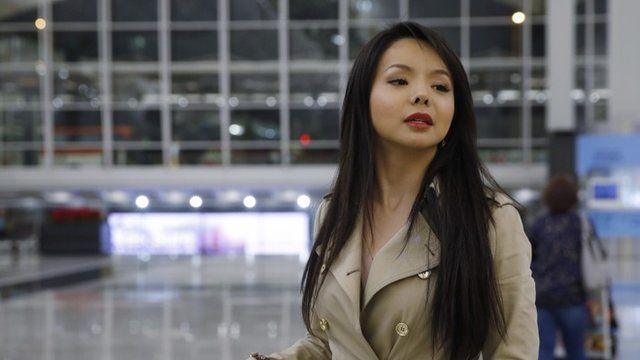 Canada's Miss World contestant Anastasia Lin at Hong Kong International Airport
