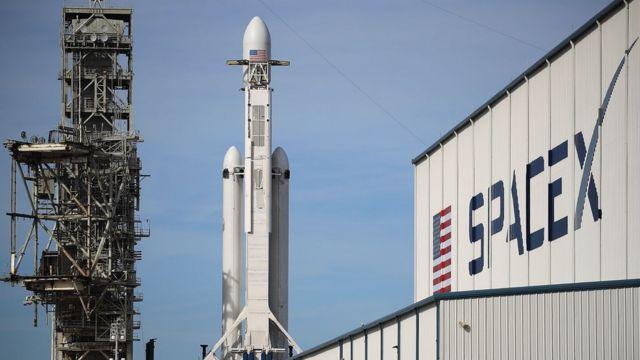 Ракета Falcon Heavy на космодроме на мысе Канаверал. Флорида, США. 5 февраля 2018 года.