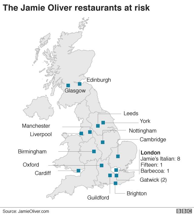 Jamie Oliver restaurants map