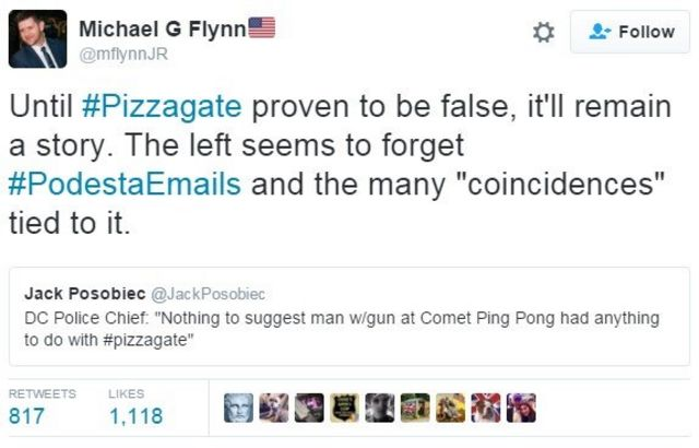 "Tweet: Until #Pizzagate proven to be false, it'll remain a story. The left seems to forget #PodestaEmails and the many ""coincidences"" tied to it."