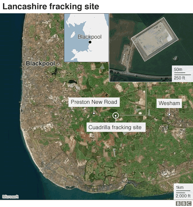 Map: Fracking site nr Blackpool in Lancashire
