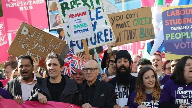 Actors Sir Patrick Stewart and Paul McGann join a demonstration in central London calling for another referendum