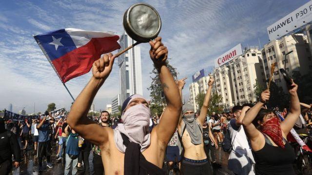 Manifestantes en Chile