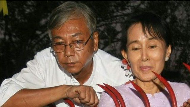 Presidential frontrunner Htin Kyaw and NLD leader Aung San Suu Kyi