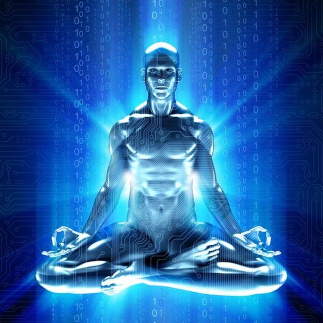 Ilustración futurista de la meditación.