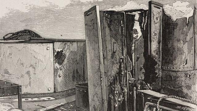 Ilustración del Huáscar después del combate