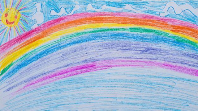 Dibujo infantil del arcoíris