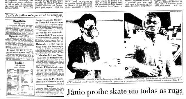 Na capa da Folha, a manchete 'Jânio proíbe skate em todas as ruas'