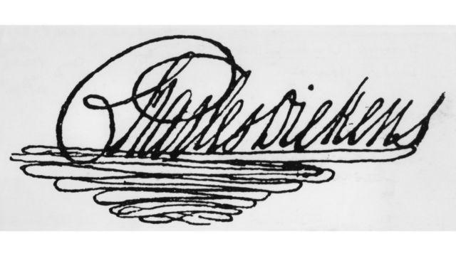 Firma del escritor inglés, Charles Dickens.
