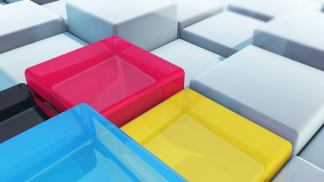 Ilustración de trozos de cubos y cubos enteros