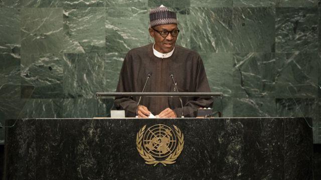 President Buhari dey address UN General Assembly