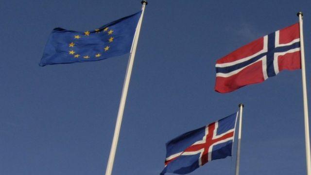 Banderas de la Unión Europea, Noruega e Islandia.