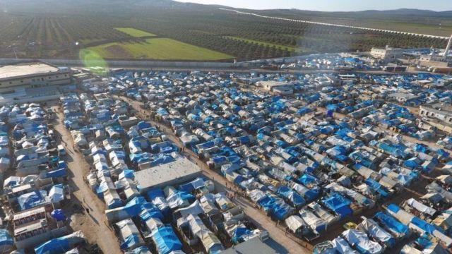 صورة جوية لمخيم لاجئين