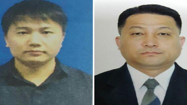 マレーシア警察が公表したヒョン・ガンソン(写真右)、キム・ウクイル(同左)容疑者のパスポート写真