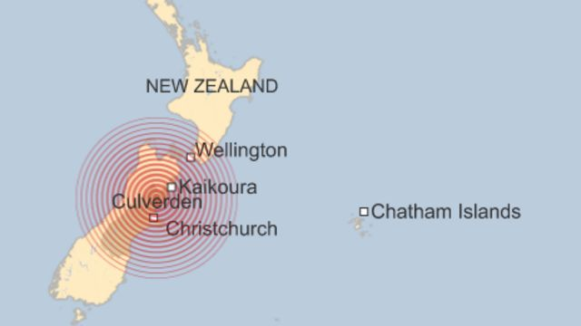 A map showing the epicentre of the earthquake in New Zealand